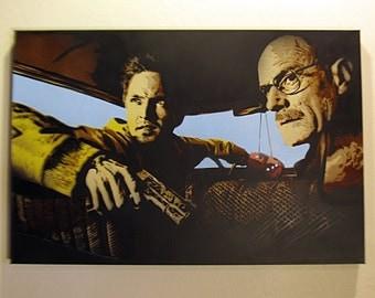 STENCIL ART . Breaking Bad spray paint art - Jesse and Heisenberg in car with gun