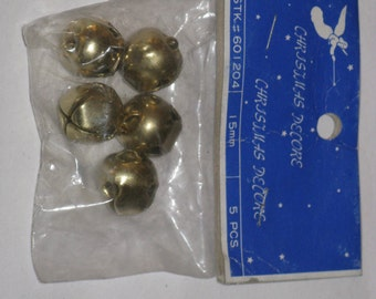 "Vintage Jingle BELLS 5/8"" Metal Gold 5 pcs in Package Christmas Decore New Old Stock"