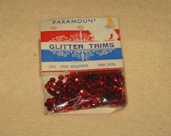 Vintage Sequins Cup Red for Crafts Glitter Trims