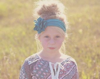 Teal Nora Flower Headband