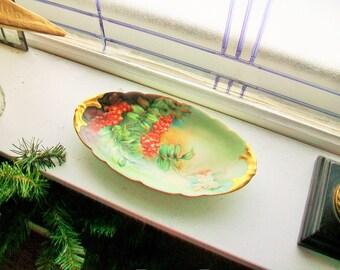 J.P. Limoge Relish Dish Candy Dish Nut Dish Vintage Porcelain Artist Signed