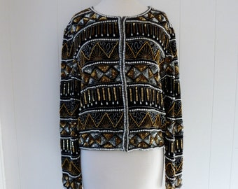 80's Sequin Jacket Beaded Black Gold Silver Pearls Slouchy Blazer Cardigan L XL