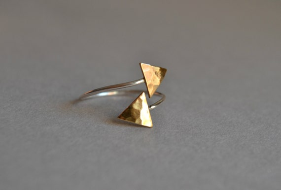 Arrow Ring Sterling Silver Brass Hammered Triangles Ring Geometric Archery Jewelry
