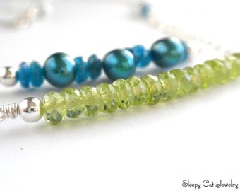 Earth and Sky Sterling Silver Necklace with Peridot, Apatite and Freshwater Pearls