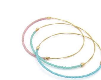 Bangle Bracelets // Set of 3 Beaded Bangles // Turquoise, Blue, Light Pink, Gold // Recycled, Eco-Friendly Jewelry // Reclaimed Materials