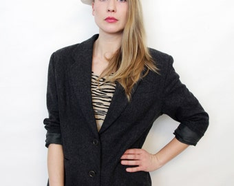Vintage Pendleton Grey Wool Preppy Blazer Jacket