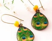 PEACOCK Earrings, Peacock Jewelry, Dangle Earrings, Emerald Green Earrings, Boho Earrings, Peacock, Gift For Her, BOHEMIAN Earrings, Green