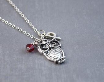 Silver Owl Necklace - Owl Jewelry - Owl Pendant - Personalized Necklace - Owl Personalized - Bird Jewelry - Woodland Necklace - Animal