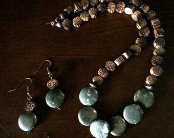 Wood and pyrite - necklace