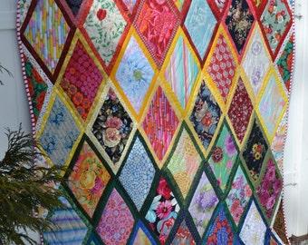 Modern  Quilt Handmade Kaffe Fasset Fabric Hipster Boho Chic Rainbow Diamond Twin Size Quilt