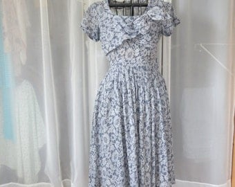50s Dress Blue and White Sheer Floral AS IS with Side Zipper Size M Medium Bust 34 Needs TLC