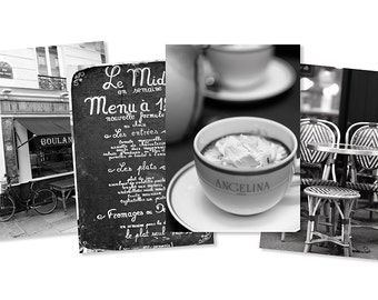 Paris Cafe Photography Notecards - Black and White Paris Photo Cards, Holiday Gift, Blank Card, Greeting Card, Stationery