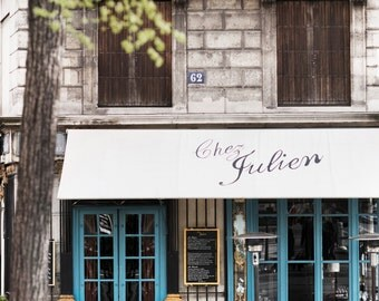 Paris Cafe Photograph, Chez Julien, Large Wall Art, French Kitchen Decor, Fine Art Travel Photograph