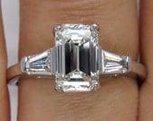 Timeless GIA 1.81ctw Estate Vintage Emerald Cut Diamond  with 2 Baguettes Platinum Engagement Wedding Ring
