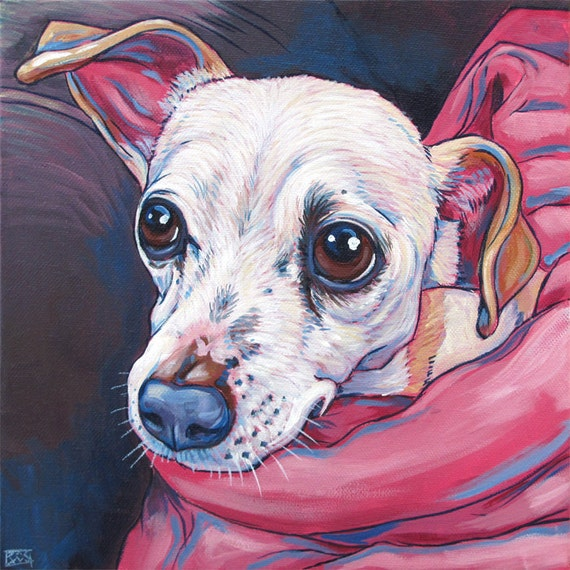 """10"""" x 10"""" Custom Pet Portrait Painting in Acrylic on Ready to Hang Canvas of One Dog, Cat, or Other Animal. Valentine Certificate Available."""