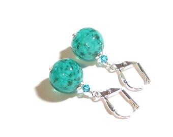 Murano Glass Sea Foam Ball Silver Earrings, Clip Earrings, Leverback Earrings, Venetian Jewelry, Italian Jewellery, Sea Green Earrings