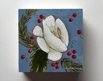 Winter small painting wall art home decor - Une Fleur de Noel
