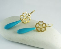 Dangle turquoise drop earrings gold turquoise earrings gold flower earrings