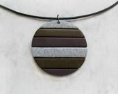 Geometric necklace, Polymer clay pendant, Geometric jewelry, Striped jewelry, Large pendant, Stylish jewelry, Striped pendant, Round pendant