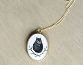 Squirrel Locket Antique Brass Setting 14k Gold-Filled Chain