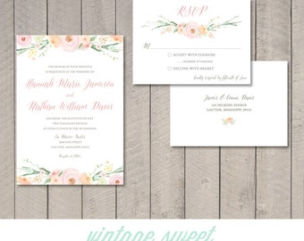 Vintage Floral Wedding Invitation & RSVP Card (Printable) by Vintage Sweet