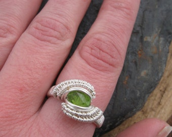 Wire Wrap Ring, Size 8 Peridot Ring Wire Wrapped in Sterling Silver
