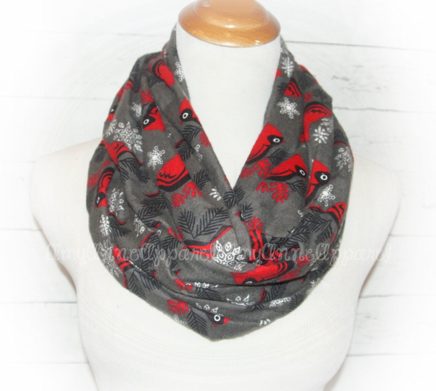 Cardinal Charcoal Gray Infinity Scarf Flannel Red Birds Winter