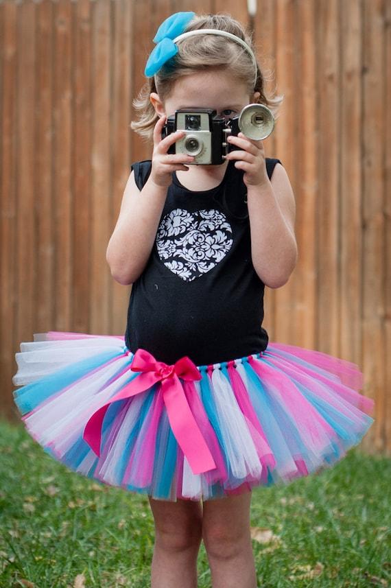 Items similar to Turquoise White u0026 Pink Photo Punks Tutu adult tutu teen tutu juniors skirt ...