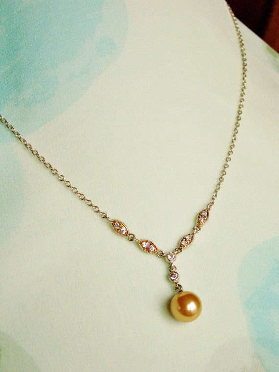 sterling silver gold wash y necklace with faux by