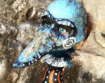 Bird Boy Altered Doll / Altered Art /Art Doll / Original Art / OOAK / Blue / orange / Creepy Art / Baby Doll Art / mixed media / assemblage