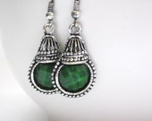 Green And Silver Metal Boho Earrings,Silver Earrings,Green Earrings,Green Dangle Earrings