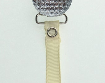 Ivory Crystal Clip with Solid Ribbon Pacifier Clip (RQSI)(msrp 19.99)