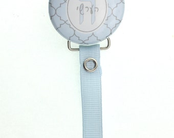 Hebrew Personalized Name Blue Moroccan Tile Pacifier Clip Only (PER81H) (MSRP 19.00)