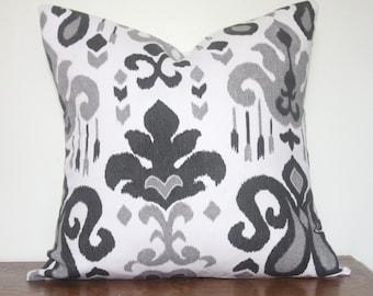 Ikat Pillow.Gray,Black,White,Cotton, Home Decor, Throw Pillow