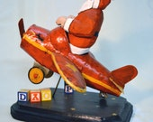 Hand Carved Wood Airplane Flying Santa