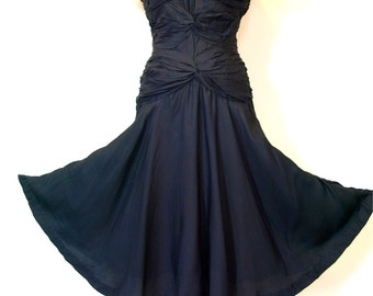 Vintage 1950s black ruched cocktail party swing dress size s or m
