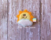 Sunshine and Cloud Clippie, Sun and Cloud Feltie, Sun and Cloud Hair Clip, Embroidered Felt Clippie, Hair Clip for Infant, Baby Toddler Girl