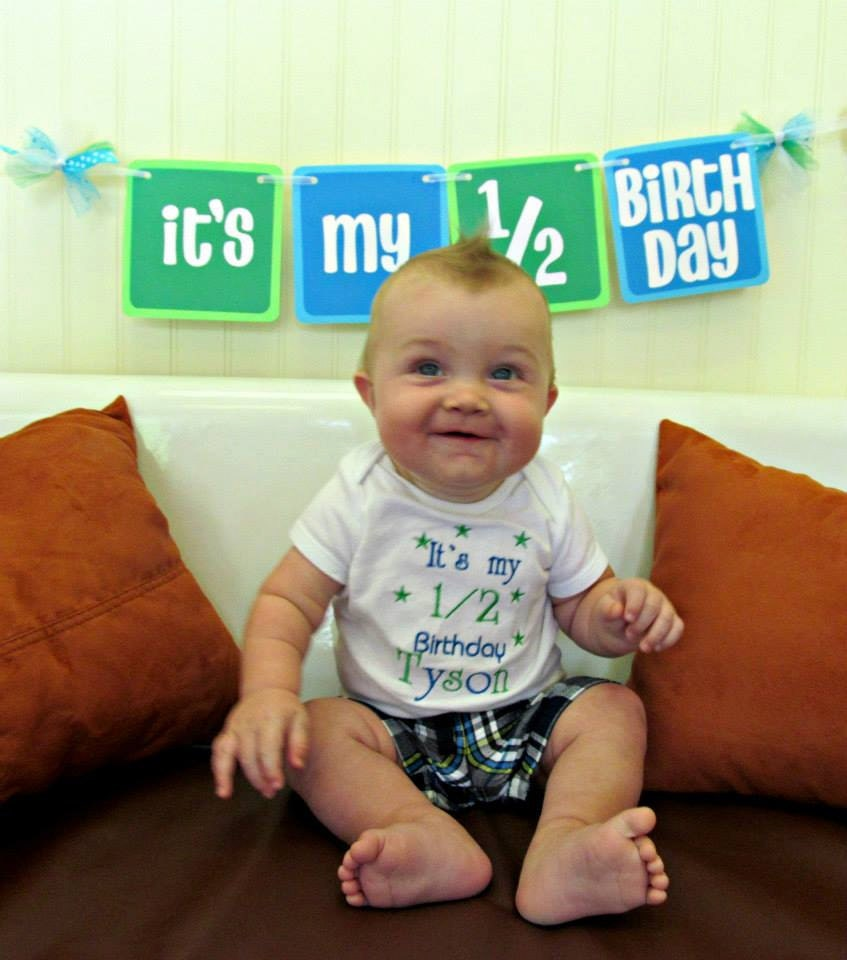 ITS MY 1/2 BIRTHDAY Banner In Blues And Greens For Half