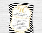 Women's Birthday Invitation - 5x7 - 40th, 50th, 60th, 70th, 80th, 90th - Photo Card - black white gold -  Digital Printable File - Cardstock