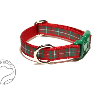 "MacGregor Clan Tartan Dog Collar - Red and Green Plaid - 3/4"" (19mm) Wide - Martingale or Side Release - Choice of collar style and size"