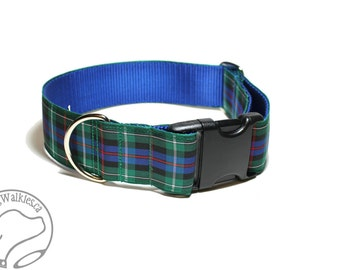 "Rose Clan Tartan Dog Collar - 1.5"" (38mm) Wide - Blue and Green Plaid - Martingale or Side Release - Choice of collar style and size"