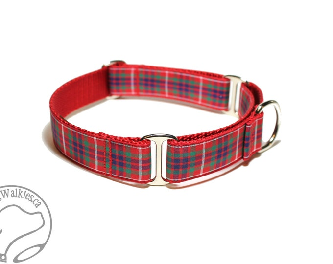 """Featured listing image: Fraser Clan Tartan Dog Collar - 1"""" (25mm) Wide - Outlander Tartan - Red Plaid - Martingale or Side Release Buckle - Choice of size & style"""