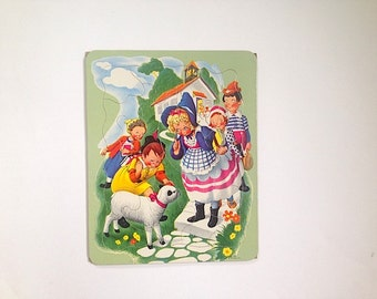 1950s Childrens Puzzle, Antique Nursery Rhyme Jigsaw Puzzle, Baby Nursery Home Decor, Antique Toy, Mid Century Puzzle, Christmas MOM Gift