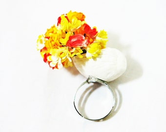 Unique Ring, Bouquet Ring, Statement Ring,Women Ring, Adjustable, Daisy Bouquet Ring,Paper Flower Ring, Shell Ring, Beach Ring 6,7,8,9,10