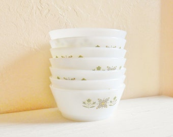 Set of Vintage Fire King Bowls Green Meadow Anchor Hocking White Medium Size