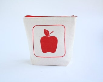 Zipper Pouch with red apple screen printed