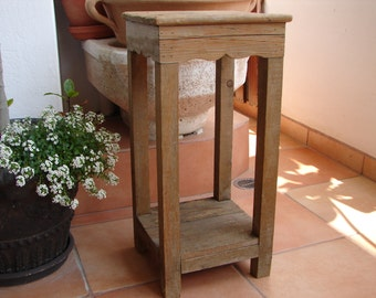 vintage table, reclaimed rustic wooden bedside, occasional, side table, plant stand-shabby chic unique night stand