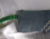 Upcycled Denim Wristlet Repurposed Zippered Pouch with Wrist strap