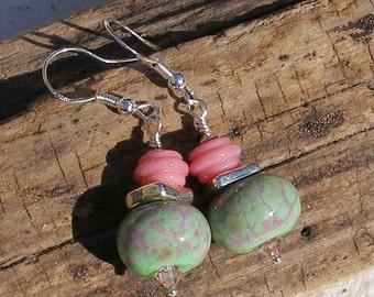 Raspberry Mint Lampwork Earrings   433