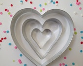 Metal Heart Cookie Cutter Assorted Sizes ~ Set of 3 ~ Wedding Favors ~ Pie Cutter ~ Made in the USA